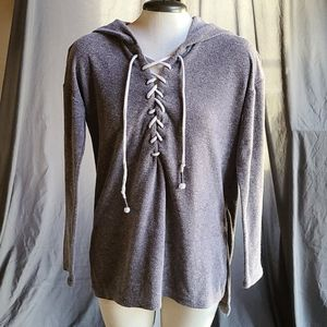 Aeropostale Lace-up Hooded Sweatshirt, Size S Gray